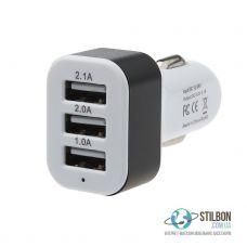 Автомобільний USB адаптер живлення 3 порта 2.1A/2.0A/1.0A White