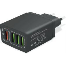 Мережевий зарядний пристрій XoKo QC-405 4 USB 6.2A Black