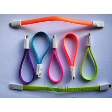 Micro USB кабель плоский 17 см разные цвета