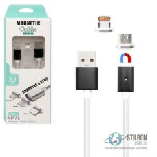Кабель магнітний універсальний lightning/micro USB 1м 2А DM-M15