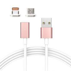 Кабель магнітний універсальний Toto lightning/micro USB 1м 2А DM-M15 Rose