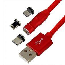 Кабель TOTO магнітний конектор 360 універсальний lightning/micro USB/type-C 1м Red