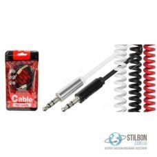 AUX кабель MiniJack 3.5 mm F-F 2m 2pin пружинний
