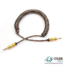 """AUX кабель MiniJack 3.5 мм """"тато""""-""""тато"""" 2 метра пружинний товстий"""
