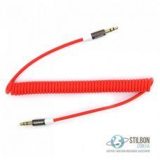 AUX кабель MiniJack 3.5 mm тато-тато 2m 2pin пружинний Red