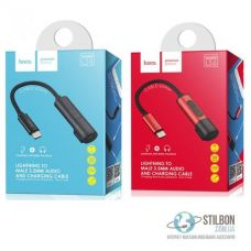 Переходник Hoco Tanco LS6 Lightning to male 3.5 mm audio and charge cable