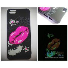 Чохол Apple iPhone 5 5S SE Світиться в Темряві Lips Soft-Touch Пластик (Чехол Накладка)