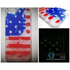 Чохол Apple iPhone 5 5S SE Світиться в Темряві Flag USA Soft-Touch Пластик (Чехол Накладка)