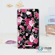 Чохол-Накладка Sony Xperia E4 Квіти Dark Пластмасса (Чехол)