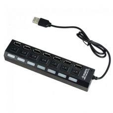Хаб Концентратор TOTO USB 2.0 7 порта кнопки ВКЛ LED Black