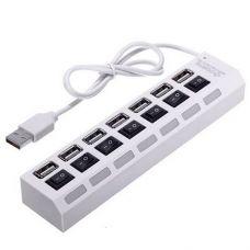 Хаб Концентратор TOTO USB 2.0 7 порта кнопки ВКЛ LED White