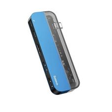 USB-хаб Baseus Transparent Series Type-C Multifunctional HUB Adapter Blue (CAHUB-TD03)