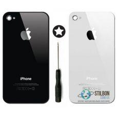 Задня кришка для Apple iPhone 4/4S black/white + викрутка