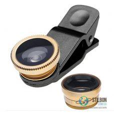 Набір лінз для мобільного телефона Fisheye Wide Macro 3в1 Gold