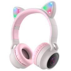 """Бездротові Bluetooth навушники Hoco W27 """"Котячі вушка"""" LED MP3 Gray"""